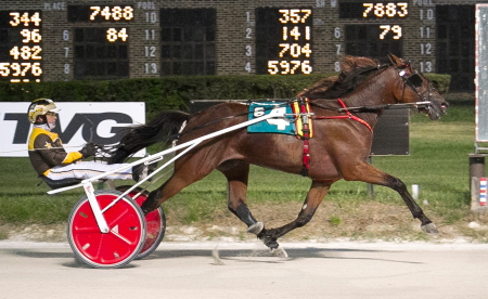 The Mike Brink stable's Crooked Creek (Mike Oosting) goes after his sixth consecutive victory tonight in race eleven. (Four Footed Fotos)