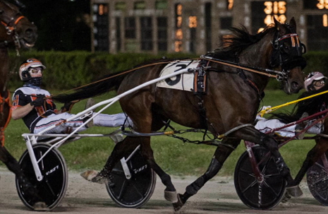 Fox Valley Exploit will be back in action Saturday night when she tries to stay unbeaten as a three-year-old in a $15,000 division of the Plum Peachy stake. Her regular driver(and trainer) Kyle Husted has been sidelined and Casey Leonard be at the lines of the filly tonight. (Four Footed Fotos)