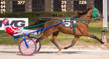 The Steve Searle trained three-year-old trotting filly Lous Abigail (Casey Leonard) puts her five race winning streak on the line in the $98,000 Beulah Dygert Memorial Championship tonight. (Four Footed Fotos)