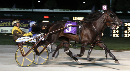The Nelson Willis Stable's Native Hotspur, shown here in her 2010 Lorna Propes Super Night victory, is the dam of Diamond Diesel, one of the ICF stake eligible two-year-old pacers. (REB Photo)