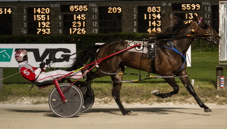 Tempus Seelster, shown here winning an earlier Hawthorne Open with driver Travis Seekman, will have to buck the outside 10-hole in Sunday's opener. (Four Footed Fotos)