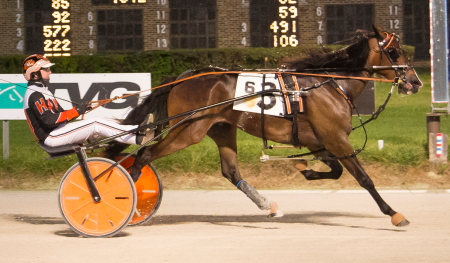 Lousrolando, trained by his co-owner and driver Kyle Husted, has emerged as one of the favorites in the $118,000 Kadabra freshman colt and gelding trotting final. (Four Footed Fotos)