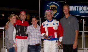 Casey Leonard was honored by Hawthorne on closing night as its leading driver. (Four Footed Photo)