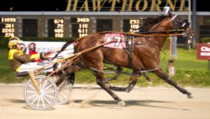 Fox Valley Herbie (Mike Oosting), winner of last week's Incredible Finale Championship,, goes postward tonight in one of three Cardinal Pace eliminations. (Four Footed Photo)