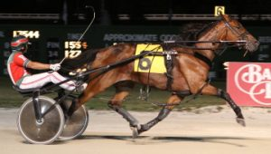 Run And Tell Papa is shown here winning the American National as a 2-year-old. (Balmoral Park Photo).