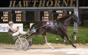 Daryl Busse Series champion Bands Houdini and driver Kyle Husted team-up again in tonight's first leg of the Erwin F. Dygert Memorial Stake Series. (Four Footed Photo)