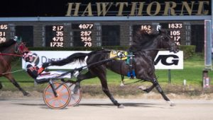 First round Beulah Dygert champion Daisy Lou Duke (Kyle Husted) looks to repeat in Sunday's second leg of the ICF 3-year-old trotting stake. (Four Footed Photo).