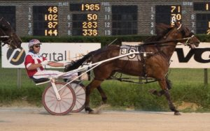 The Tripoli Stable's Mykonos was one of seven winning drives last night for Casey Leonard who drove all three Incredible Finale first place finishers. This one came in the freshman stake series second division. (Four Footed Photo)