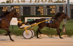 The New Americana (Mike Oosting) goes postward in tonight's second $12,000 division of the Incredible Tillie stake for state-bred pacing fillies. (Four Footed Photo)