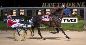 OK Heavenly (Casey Leonard) opens as the favorite in Saturday's $13,500 Open Pace for fillies and mares. (Four Footed Photo).