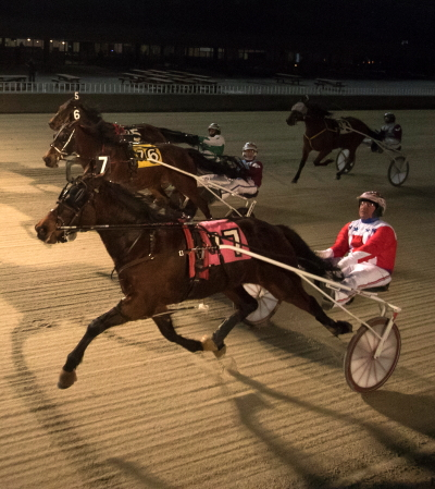 Casey Leonard completed a driving triple Sunday night when he guided Bluebird Cantab to his win in the seventh race. The 3-year-old trotter is trained by his father Terry. (Four Footed Photo)