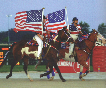 There was a nice patriotic touch to the gala atmosphere presented by Balmoral Park on its first Super Night festivities in 1998. (R.E.B. Photo)