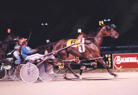 On Balmoral Park's inaugural Super Night Shady Veil, driven by Randy Jacobs, became the first pacing mare to win back-to-back Ann Vonian Championships. (R.E.B. Photo)
