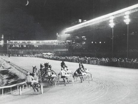 This was the scene of a harness racing field heading into the stretch when Sportsman's Park was a five-eighths oval prior to 1992.