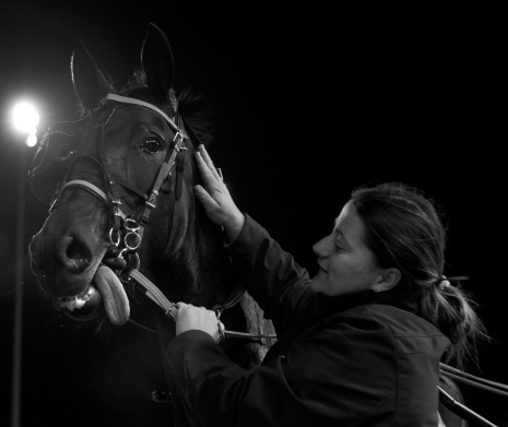 Princess Oshie got some well-deserved affection from Rikki Finn before being led into the Hawthorne's winner's circle following her Paisley series leg victory. (Four Footed Fotos)