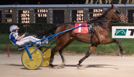 Last week's Open III trot winner Primed N Powerful (Ryan Anderson) has been assigned the outside seven post in Sunday's co-featured forth race. (Four Footed Fotos)