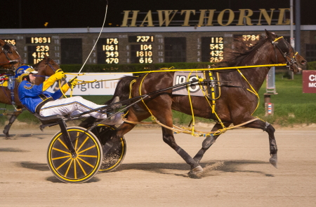 Princess Oshie (Richard S Finn) flew in the stretch to take the second series leg of the Walter Paisley. The 4-year-old mare leaves from post two in tonight's $12.200 series final. (Four Footed Fotos)