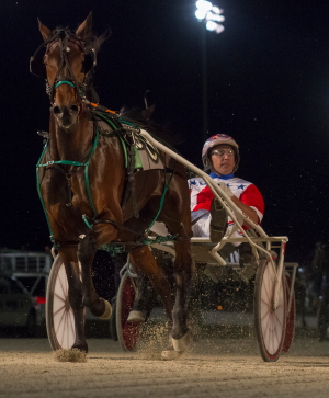 The Hosea Williams Stable's Rollin Coal came out ready for her 3-year-old debut with a front-stepping victory in Saturday's second Plum Peachy stake series division with Casey Leonard who had five more winners on the card. (Four Footed Fotos)