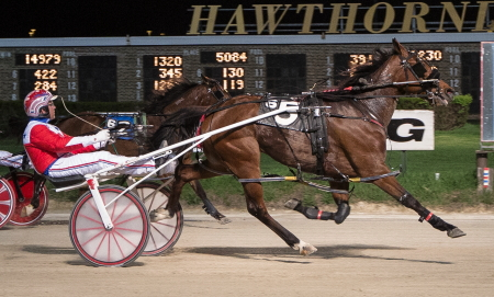 Casey Leonard teams-up again with Star Of Our Show when the Rick Schrock trained filly goes for a sweep of the Tony Salvaro series Sunday night. (Four Footed Fotos)