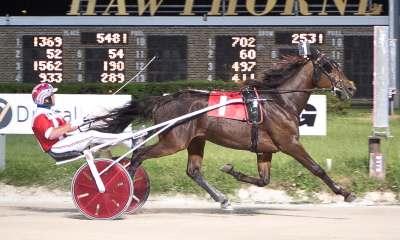The 2-year-old Cardinal Trot champion True Detective (Casey Leonard) makes her sophomore debut tonight in the first leg of the Bea Farber Late Closer Series. (Four Footed Photo)