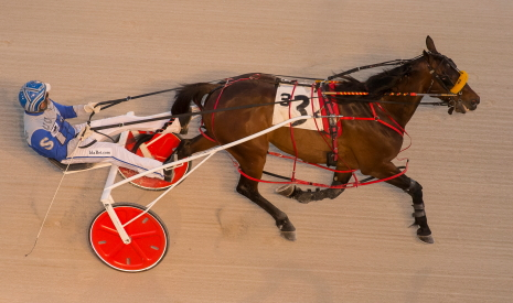 Here's a unique view of the Perry Smith Stable's veteran Best Man Hanover (Tyler Shehan) pulling away to his second straight victory at Hawthorne a week ago. (Four Footed Fotos)