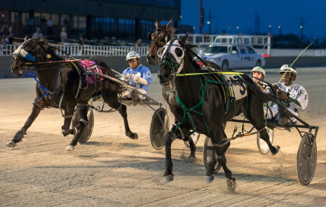 The 2-year-old ICF colt pacer Frontier Muffler, trained by his driver Freddie Patton Jr., is shown here capturing a first leg of the Incredible Finale series. He'll go to the gate in leg two Saturday night. (Four Footed Fotos)