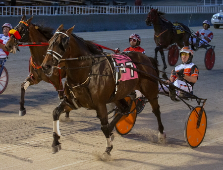 Somestarsomewhere (Kyle Husted) made it three straight wins at Hawthorne Friday night when the Tom Simmons trainee captured the first of two Open Paces on the card. (Four Footed Fotos)