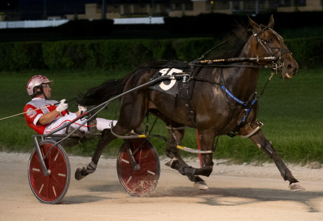 Bucklegirl Bobette (Travis Seekman) breezed to her fifth consecutive victory at Hawthorne Saturday night as the overwhelming 1 to 9 favorite in the $10,000 Open pace for fillies and mares. (Four Footed Fotos)