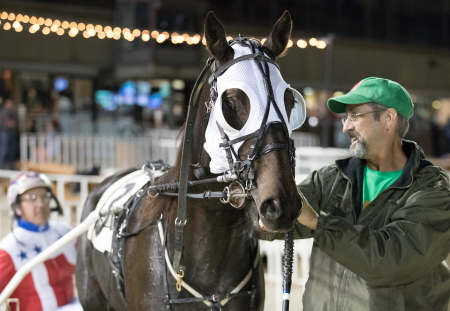 Trainer Terry Leonard was all smiles taking Fox Valley Gemini to Hawthorne's winner's circle after his 3-year-old pacer's victory on the Night of Champions. Casey Leonard will again guide the Illinois champion in a Circle City stake tonight at Hoosier Park. (Four Footed Fotos)