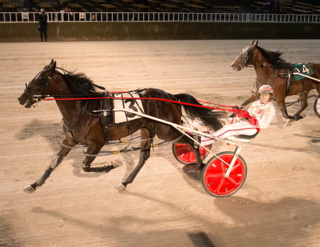 Fox Valley Jazzy is shown here with driver Ridge Warren winning a division of the Violet stake in early June at Hawthorne. (Four Footed Fotos)