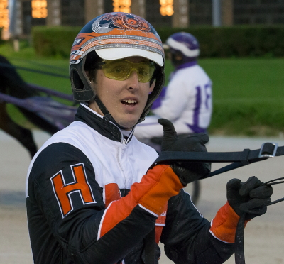 Driver Kyle Husted was all smiles Saturday night and justifiably so. (Four Footed Fotos)