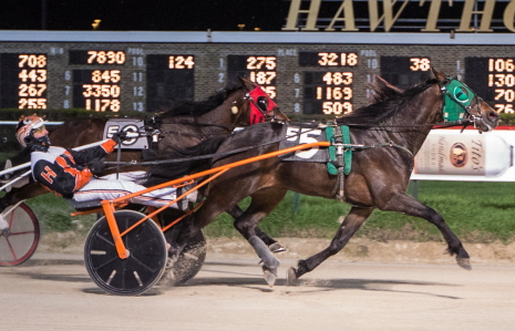 Lourhianon, shown here winning last week with Kyle Husted, goes postward Friday night in the second race first leg of the Daryl Busse Late Closer Series. Tim Curtin got the catch-drive behind the Kennedy Lindsey trained 3-year-old ICF trotter. (Four Footed Fotos)