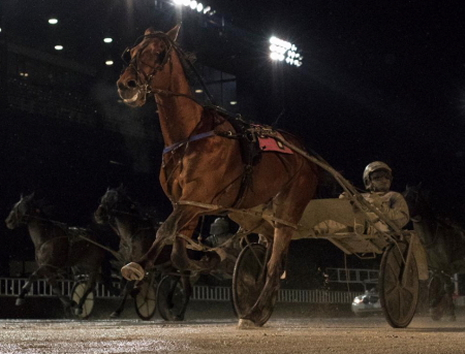 Leg two of tonight's Phil Georgeff series is next for Captain Mulzac (Ronnie Gillespie), shown here on a sloppy track cruising to victory a week ago in the 3-year-old colt's first pari-mutuel start. (Four Footed Fotos