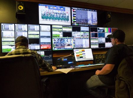 Here's a look at Hawthorne's new TV control room providing a sharper image with the conversion to HD and with more attractive and informative graphics for its viewers. (Four Footed Fotos)