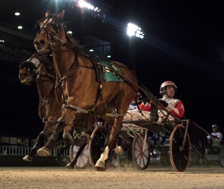 The Nelson Willis Stable's Lilly Von Shtupp (Travis Seekman) goes postward in tonight's $13,600 Walter Paisley Late Closer series final. (Four Footed Fotos)