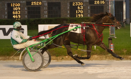 A Girl Named Jim, driven by her trainer Jamaica Patton, was never headed in Saturday night's first $17,500 Incredible Tillie stake for ICF freshman pacing fillies. (Four Footed Fotos)