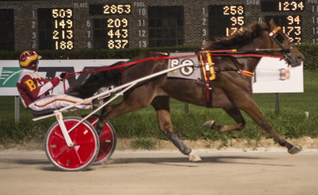 Desert Sheik, pictured here winning a Kadabra series leg with trainer Mike Brink, is one of four ICF freshmen male trotters Brink will send out in tonight's Darn Safe stake. (Four Footed Fotos)