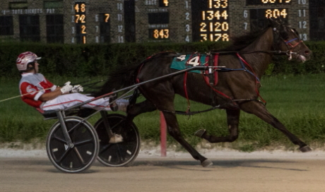 RG'S Tracer (Travis Seekman) stamped himself has a prime candidate in the Incredible Finale series with a convincing eight length victory (155.2) in last week's second round of the ICF freshman colt and gelding pacing stake. (Four Footed Fotos)
