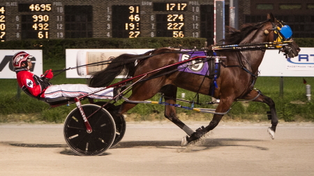 The Dean Eckley trained ICF mare Backwoods Barbie (Kyle Wilfong) outs her five race winning streak on the line in Sunday's fourth race. Four Footed Fotos)
