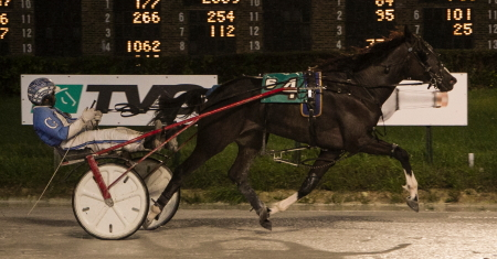 Ronnie Gillespie drove Lou Paschal to an easy victory in Sunday night's $15,000 Kadabra Consolation. Roshun Trigg trains the ICF two-year-old gelding trotter. (Four Footed Fotos)