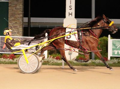 Ima Real Ladys Man is shown here winning an Indiana Sire Stake at Hoosier Park. The Perry Smith owned and trained gelding makes his four-year-old debut in Hawthorne's eighth race. (Linscott Photos)