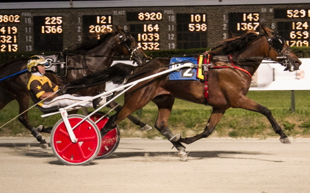 Recent Cardinal trot champion Crooked Creek (Mike Oosting) guns for his fourth consecutive Hawthorne victory tonight in a third leg of the Erwin  F. Dygert stake series for state-bred 3-year-old male trotters. (Four Footed Fotos)