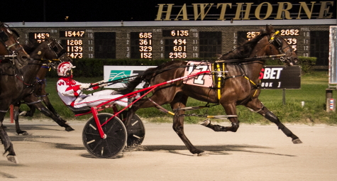 The battle in last week's Cardinal was for second place as Frontier Charley (Todd Warren) proved best in the $42,950 two-year-old male pacing stake. Tonight the Jim Eaton trainee will open up as the 5-2 favorite in the second leg of the Incredible Finale stake series. (Four Footed Fotos)