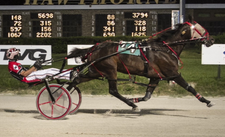 It's Time For Fun (Kyle Wilfong) returns from Indiana for tonight s Open pace for fillies and mares, a race she won at Hawthorne two weeks ago. (Four Footed Fotos)