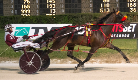 Fresh off a victory in last week's State Fair championship Hart's Heart (Juan Franco) has her sights set on capturing tonight's $29,000 Director Award two-year-old filly pace for the Mike Brink stable. (Four Footed Fotos)