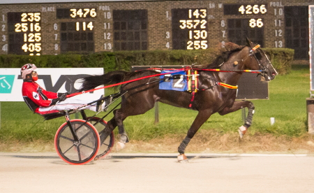 Fistfullofdollars (Kyle Wilfong) secured his maiden victory in a division of last night's Kadabra series for ICF freshman male trotters. (Four Footed Fotos)