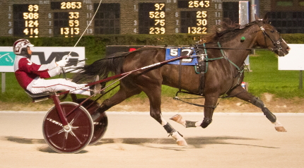 Lousraptor 's (Juan Franco) triumphs in the Plesac trot final was one of three championships on the Night of Champions card for breeder Flacco Family Farms of Alexis, Illinois. (Four Footed Fotos)
